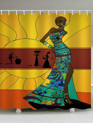 Fashion African Lady Print Bath Curtain -