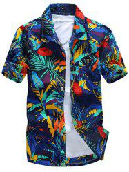All Over Leaves Print Casual Hawaiian Shirt -