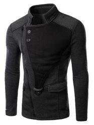 Personality Applique Inclined Zipper Fly Flap Pocket Stand Collar Long Sleeves Men's Slimming Jacket -