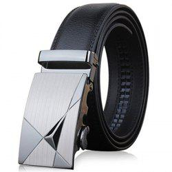 Stylish Triangle Shape Embellished Metal Buckle Black Wide Belt For Men -