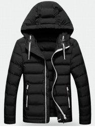 Contrast Zipper Hooded Quilted Jacket -