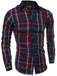 Casual Turn-down Collar Color Block Checked Print Slimming Men's Long Sleeves Shirt -