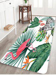Flamingo Zebra Leaf Print Coral Fleece Floor Mat -