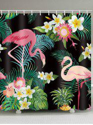 Flamingo Palm Leaf Print Shower Curtain -