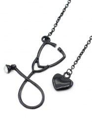 Stethoscope Heart Pendant Necklace Jewelry -