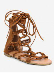 Plus Size Knot Cut Out Flat Heel Ankle Strap Sandals -
