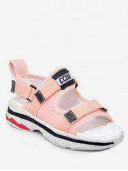 Plus Size Platform Heel Reversible Color Block Sandals -