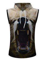 Casual 3D Sharp Teeth Print Hoodie Tank Top -