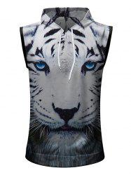 Casual 3D Tiger Head Printed Hoodie Tank Top -