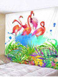 Flamingo Leaf Pattern Tapestry Hanging Decor -