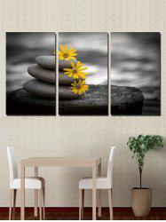 Stone and Flowers Print Unframed Split Canvas Paintings -