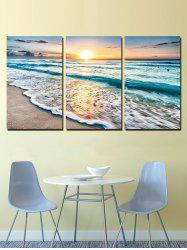 Sunset Beach Print Unframed Split Canvas Paintings -