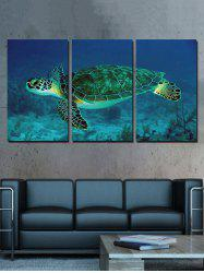 Sea Turtle Print Unframed Split Canvas Paintings -