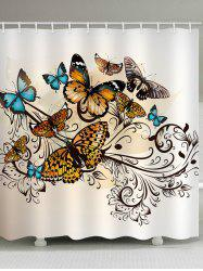 Butterflies Print Waterproof Bathroom Shower Curtain -