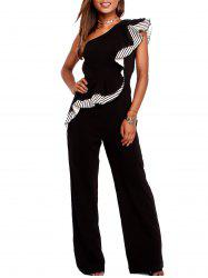 Ruffle Insert One Shoulder Jumpsuit -