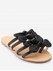 Casual Vacation Bows Decorated Flat Heel Slides -