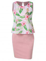 Double Layer Tropical Print Dress -