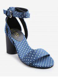 Ankle Strap Chunky Heel Retro Polka Dot Sandals -