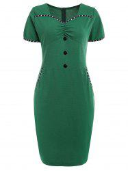 Buttoned Ruched Vintage Dress -