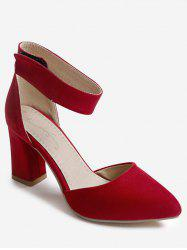 Plus Size Casual Chunky Heel Pointed Toe Ankle Strap Sandals -