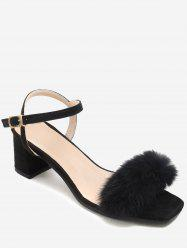 Plus Size Fuzzy Block Heel Ankle Wrap Chic Sandals -