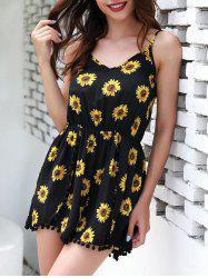 Pom Pom Trim Sunflower Print Romper -
