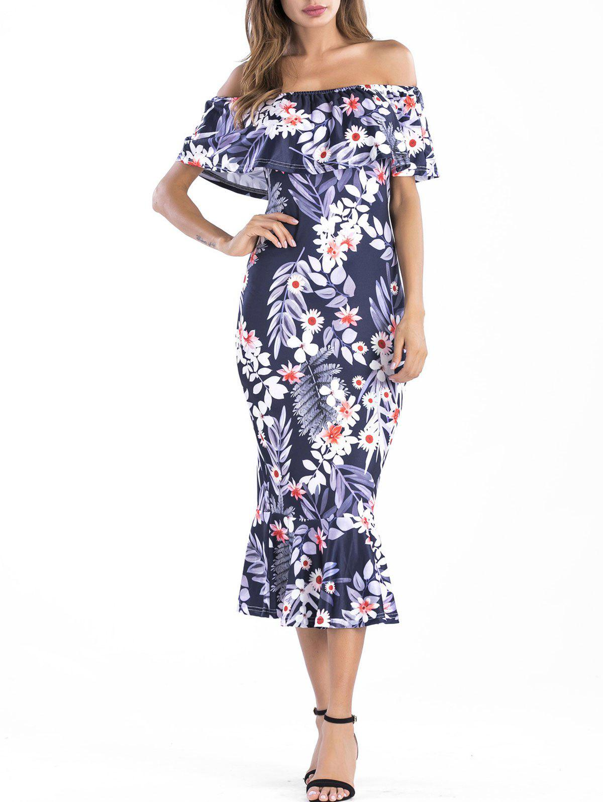 Fashion Off The Shoulder Ruffle Insert Floral Dress