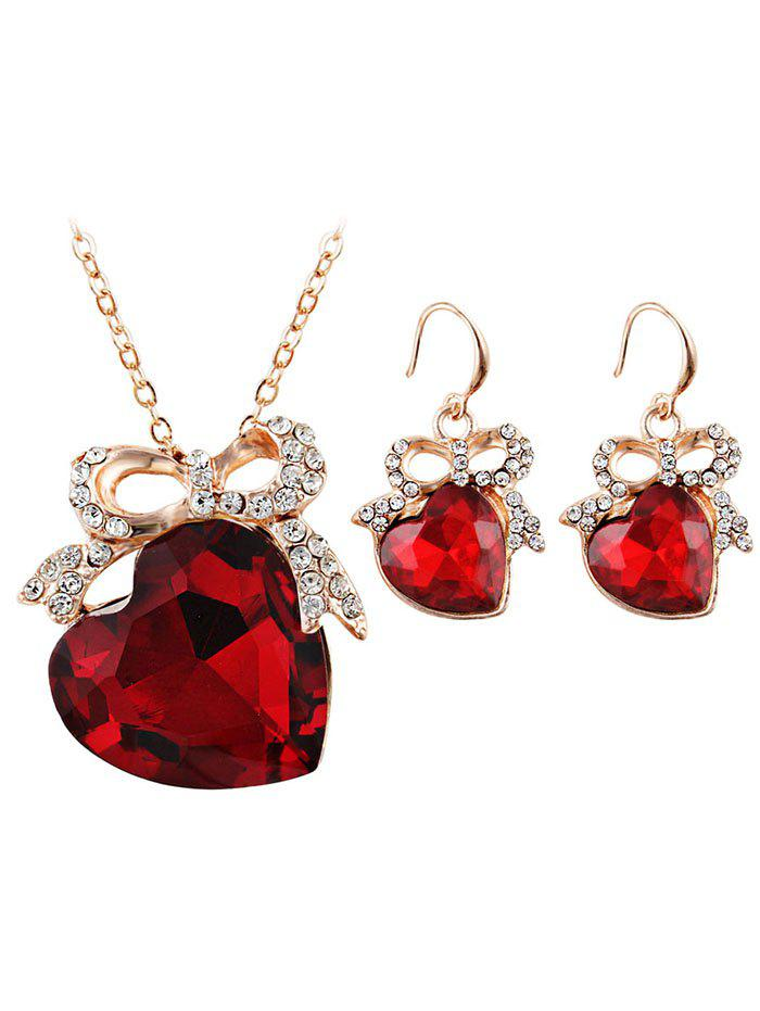 New Love Heart Rhinestone Bowknot Wedding Jewelry Set