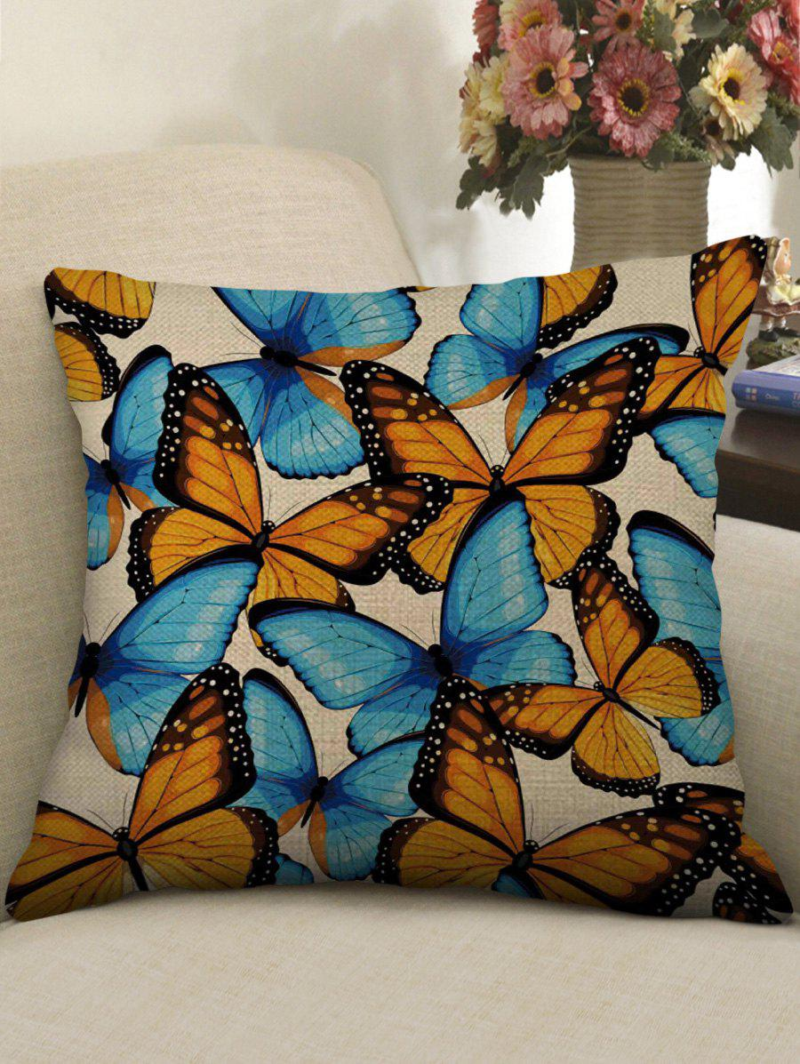 Fancy Butterfly Print Decorative Linen Sofa Pillowcase