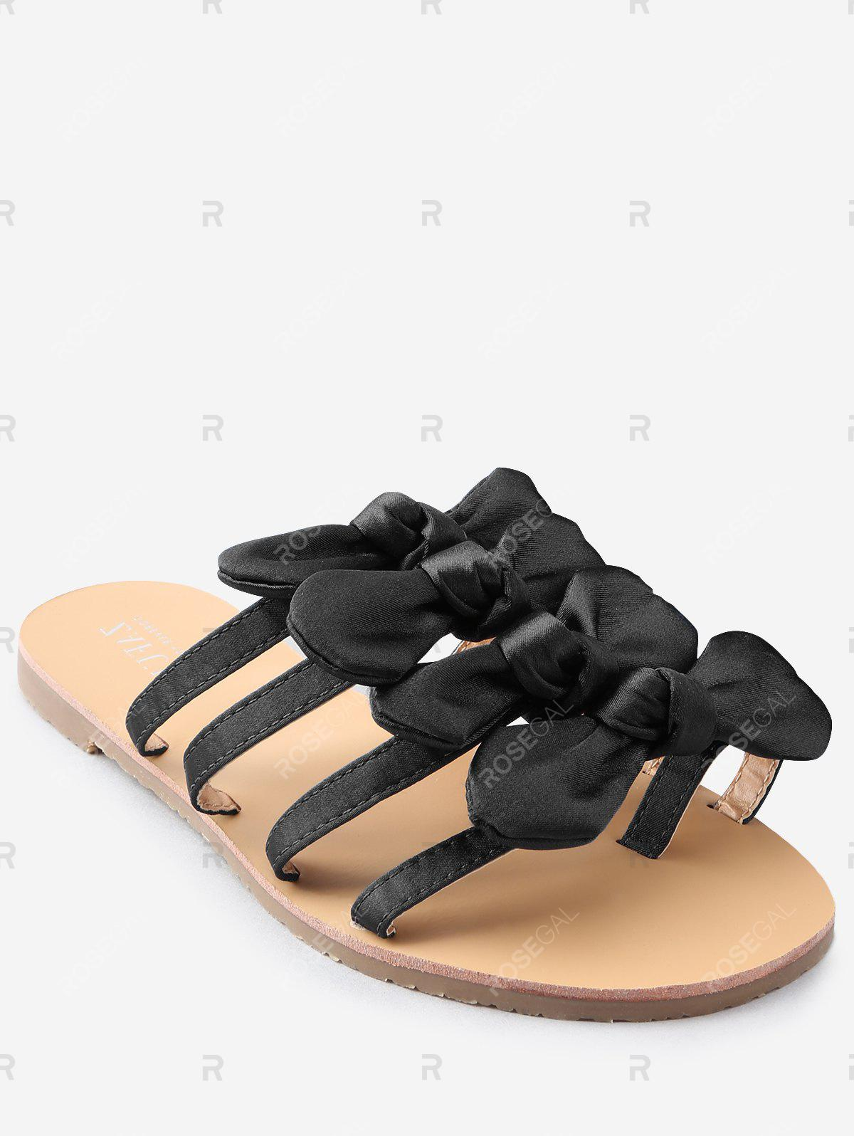 Online Casual Vacation Bows Decorated Flat Heel Slides