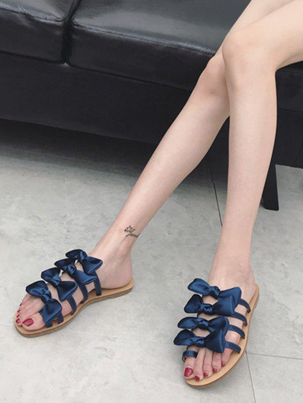 Fancy Casual Vacation Bows Decorated Flat Heel Slides