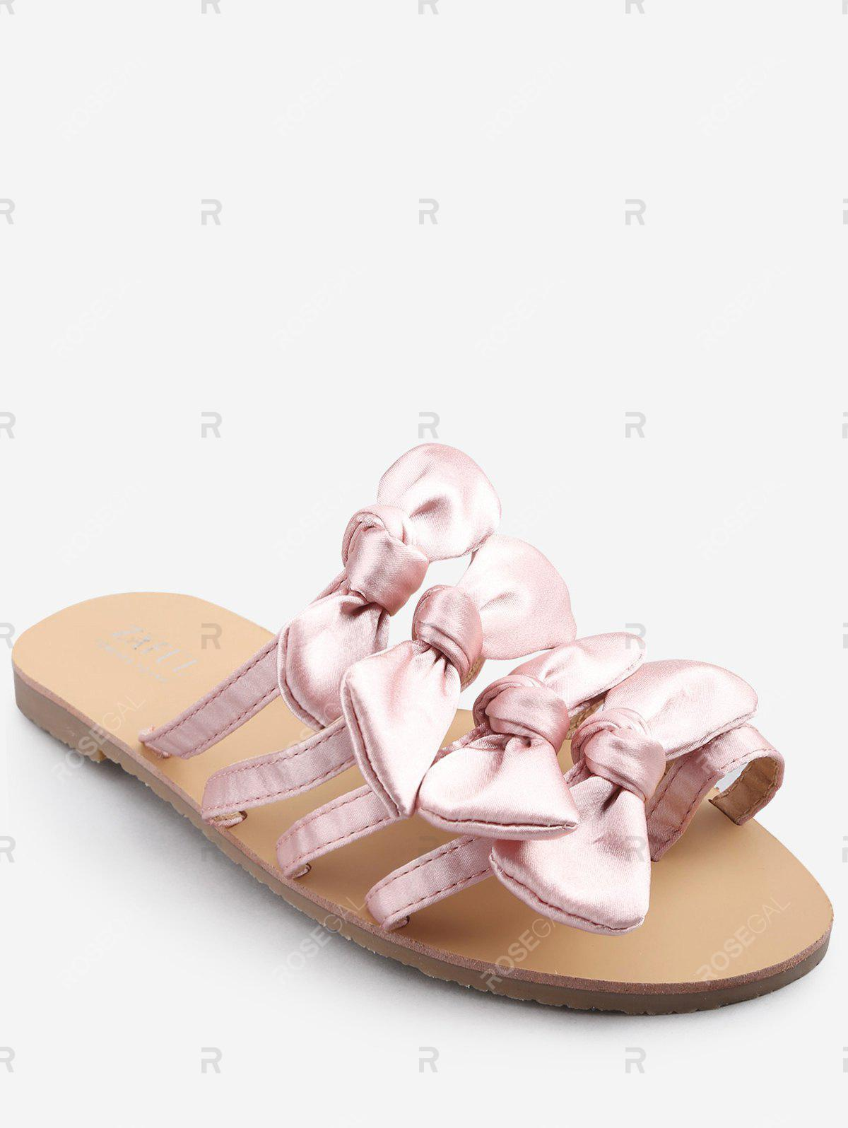 Outfits Casual Vacation Bows Decorated Flat Heel Slides