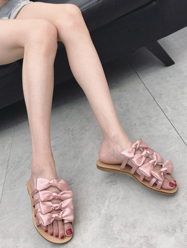 Shops Casual Vacation Bows Decorated Flat Heel Slides