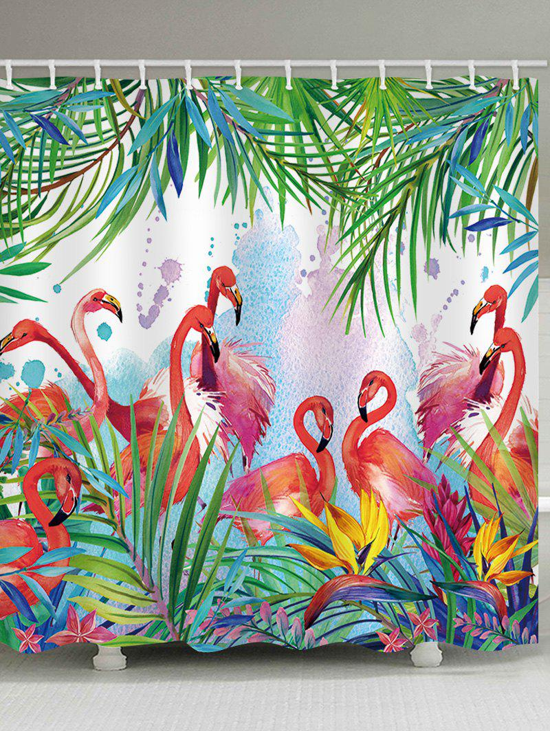 Fancy Flamingos Feast Print Shower Curtain