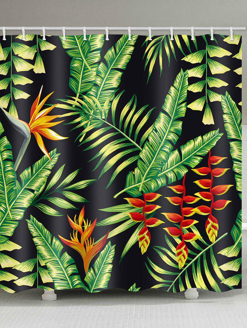 Online Palm Leaf Print Shower Curtain