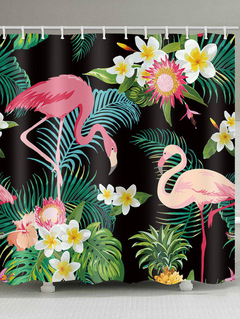 Affordable Flamingo Palm Leaf Print Shower Curtain
