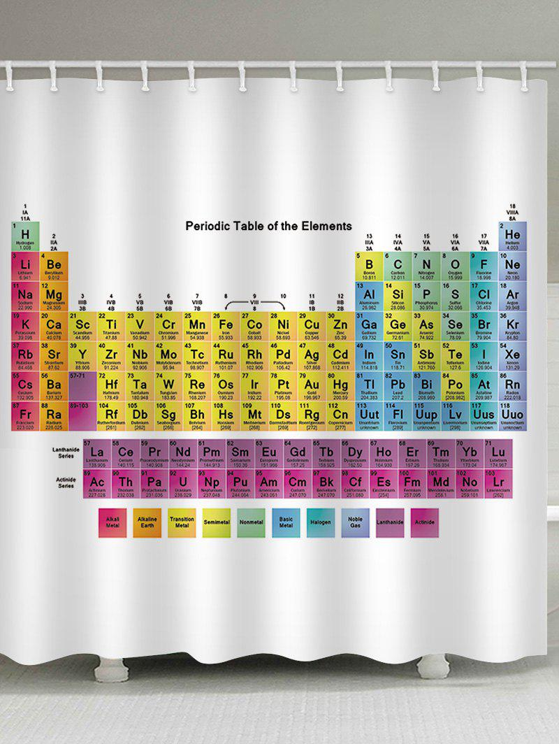 Trendy Periodic Table Print Waterproof Bath Curtain