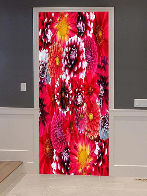 Fashion Flowers Print Door Cover Stickers