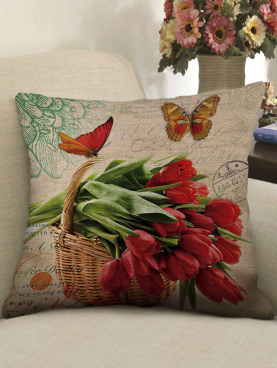 Outfits Butterfly and Flowers Print Decorative Linen Sofa Pillowcase