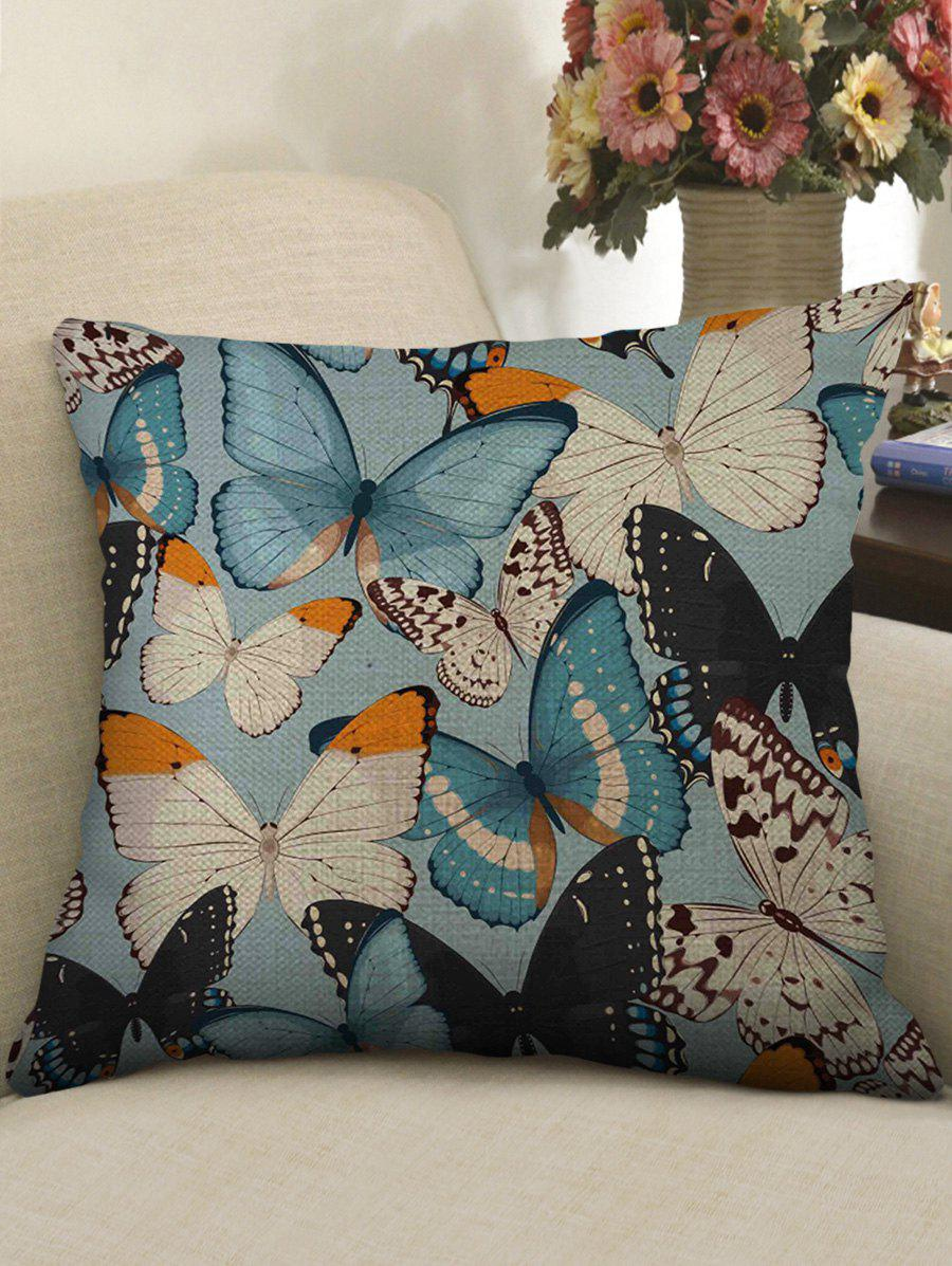 New Colorful Butterfly Print Decorative Linen Sofa Pillowcase