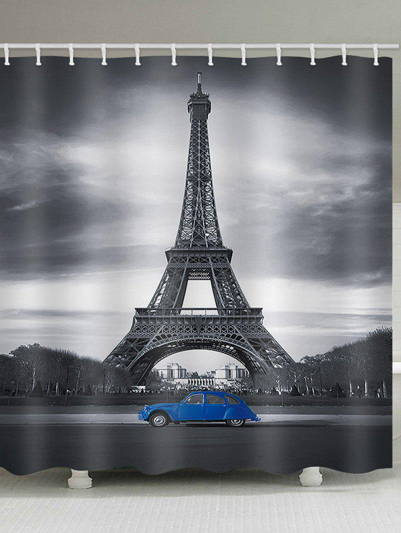 Chic Eiffel Tower Blue Car Print Shower Curtain