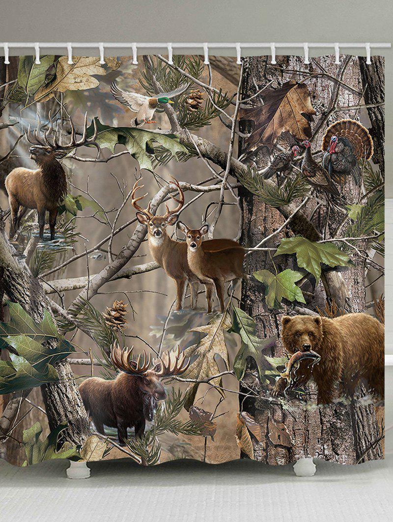 Hot Jungle Animals Print Shower Curtain