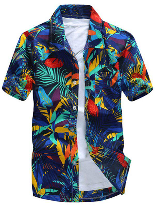 Store All Over Leaves Print Casual Hawaiian Shirt