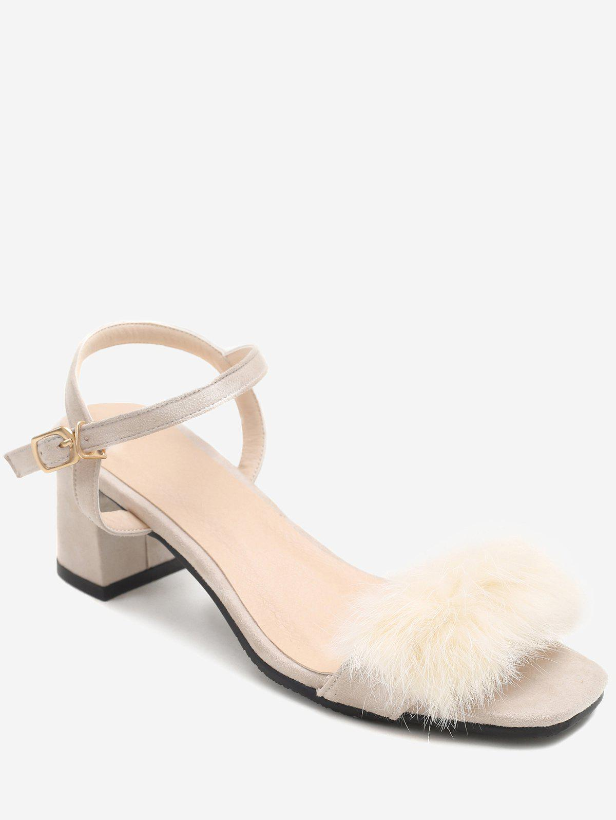 Hot Plus Size Fuzzy Block Heel Ankle Wrap Chic Sandals