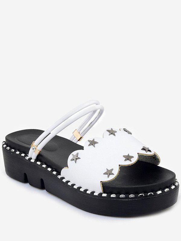Shop Plus Size Casual Reversible Star Studs Platform Slides