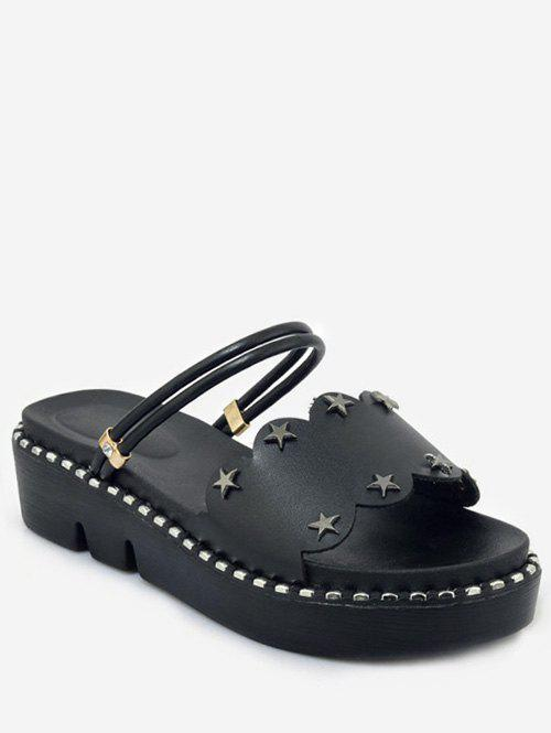 Chic Plus Size Casual Reversible Star Studs Platform Slides