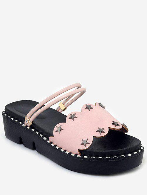 Best Plus Size Casual Reversible Star Studs Platform Slides