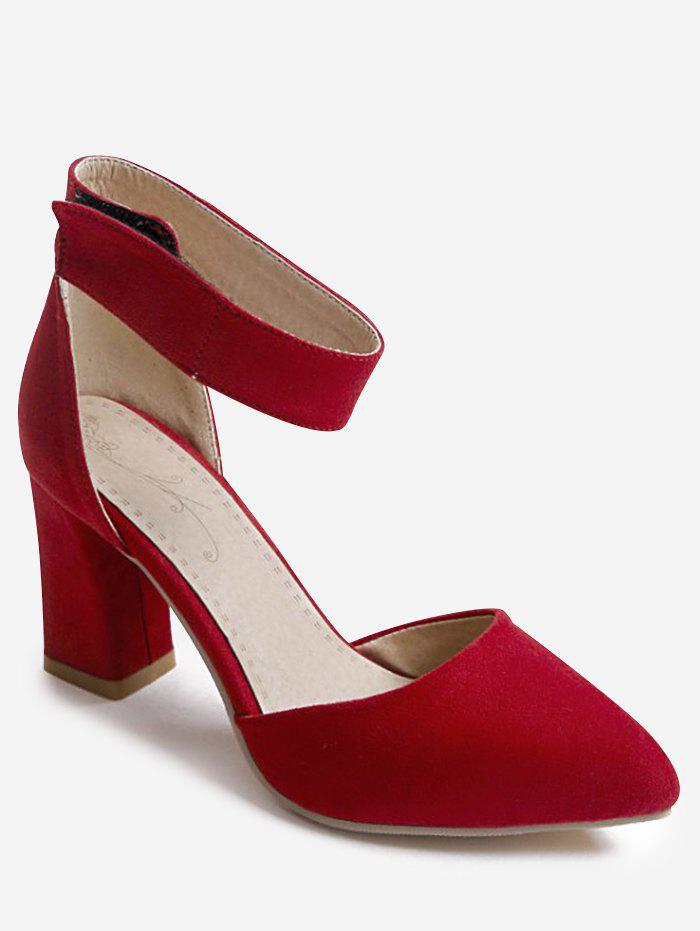Online Plus Size Casual Chunky Heel Pointed Toe Ankle Strap Sandals