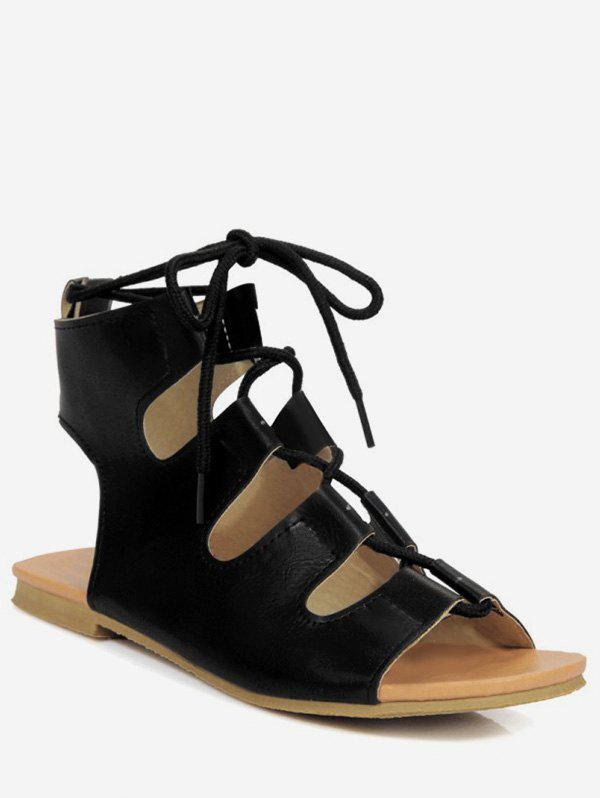 Buy Plus Size Flat Heel Cut Out Ankle Strap Sandals