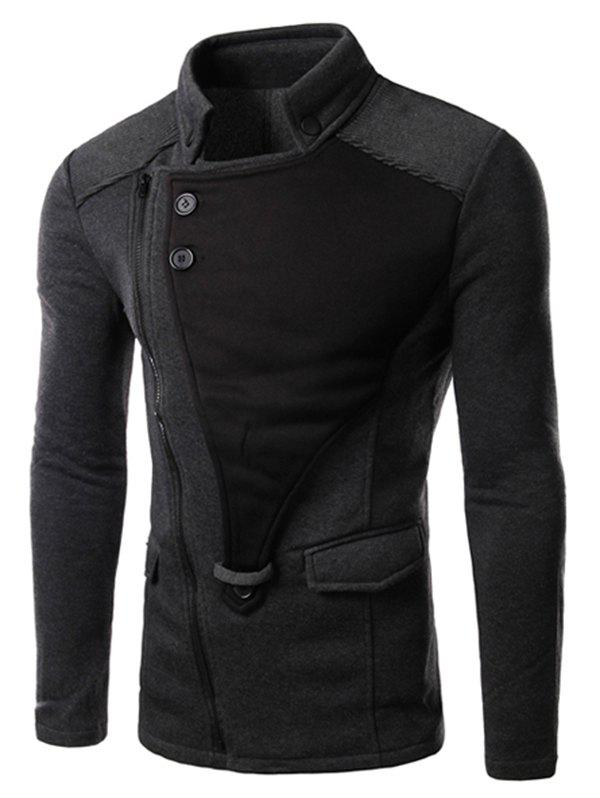 Cheap Personality Applique Inclined Zipper Fly Flap Pocket Stand Collar Long Sleeves Men's Slimming Jacket